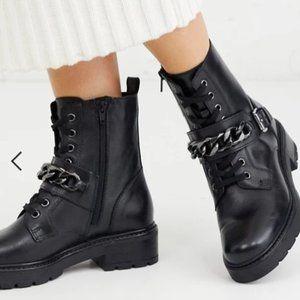 ALDO Leather Adelie Chain Trim Moto Boot NWT